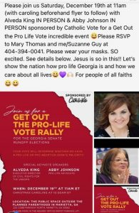 Your Chance for Christmas Caroling and to hear Abby Johnson and Alveda King speak in person for Get Out the Pro Life Vote Rally